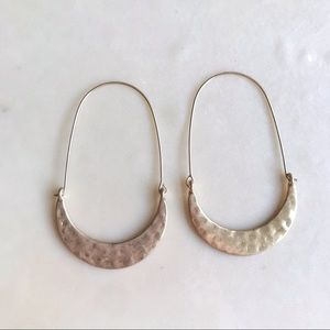 NEW Gold Beveled Crescent Dangle Hoops 🌙